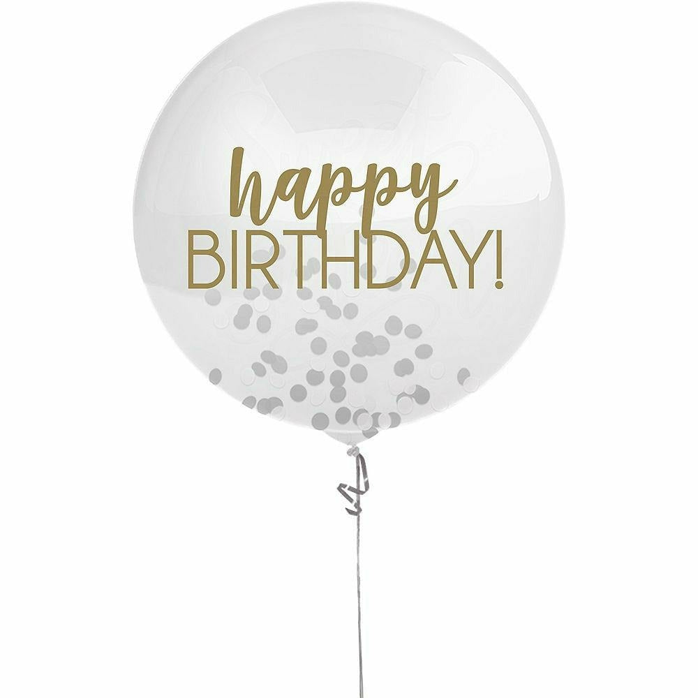 Gold & Silver Happy Birthday Confetti Balloon