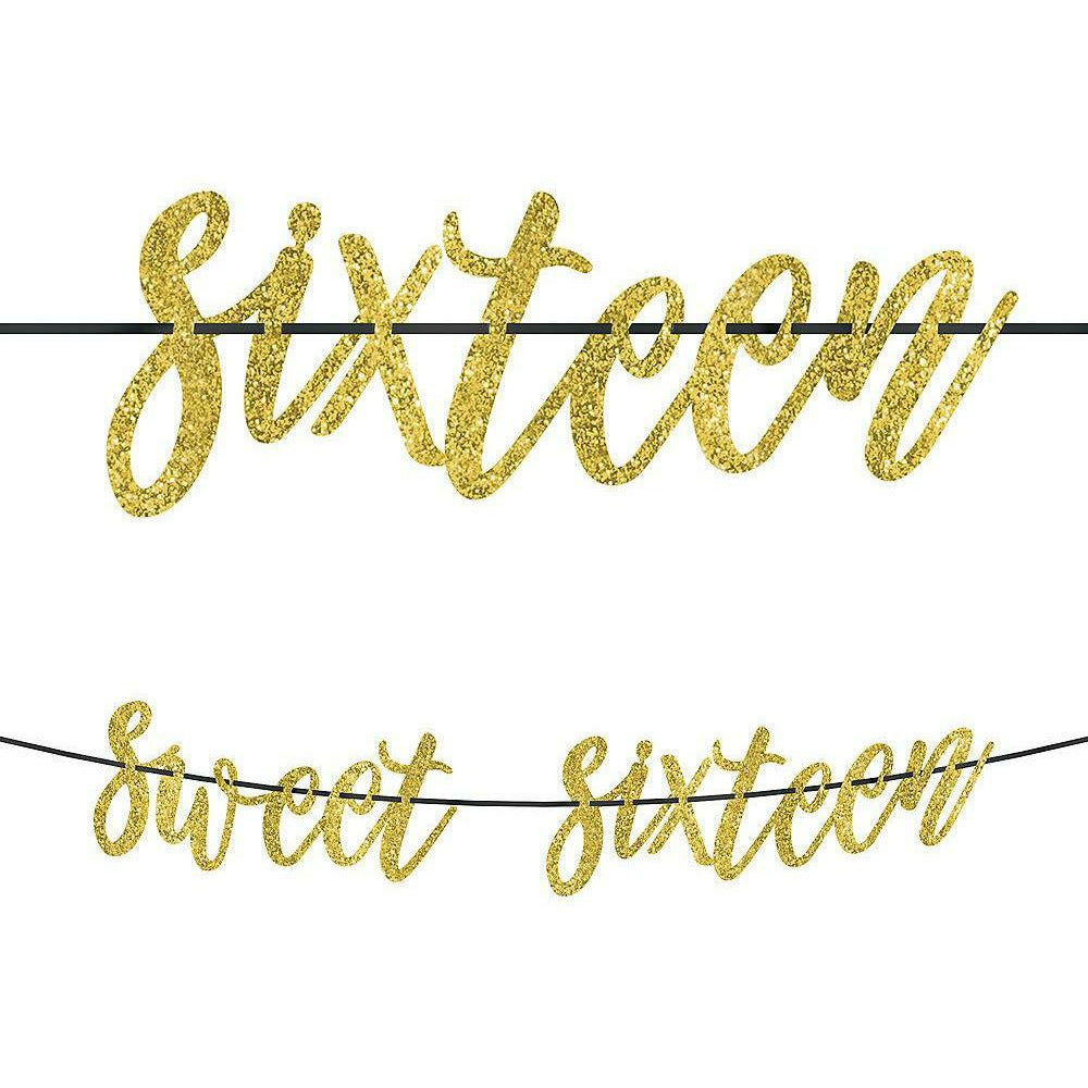 Glitter Gold Sweet 16 Birthday Banner