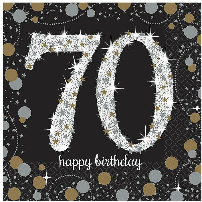 70th Birthday Beverage Napkins 16ct - Sparkling Celebration