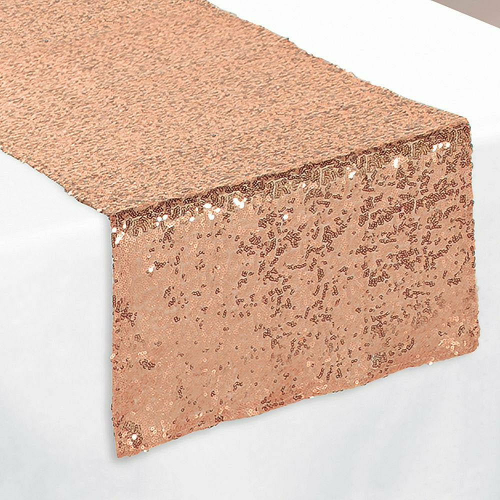 Metallic Rose Gold Sequin Table Runner