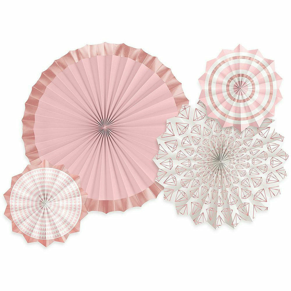 Blush & Rose Gold Paper Fan Decorations 4ct