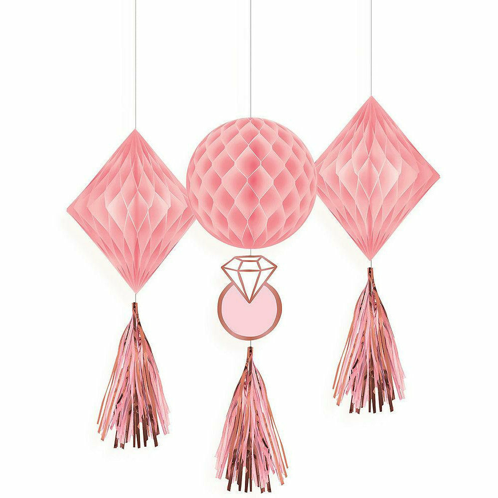 Blush & Rose Gold Honeycomb Decorations with Tails 3ct