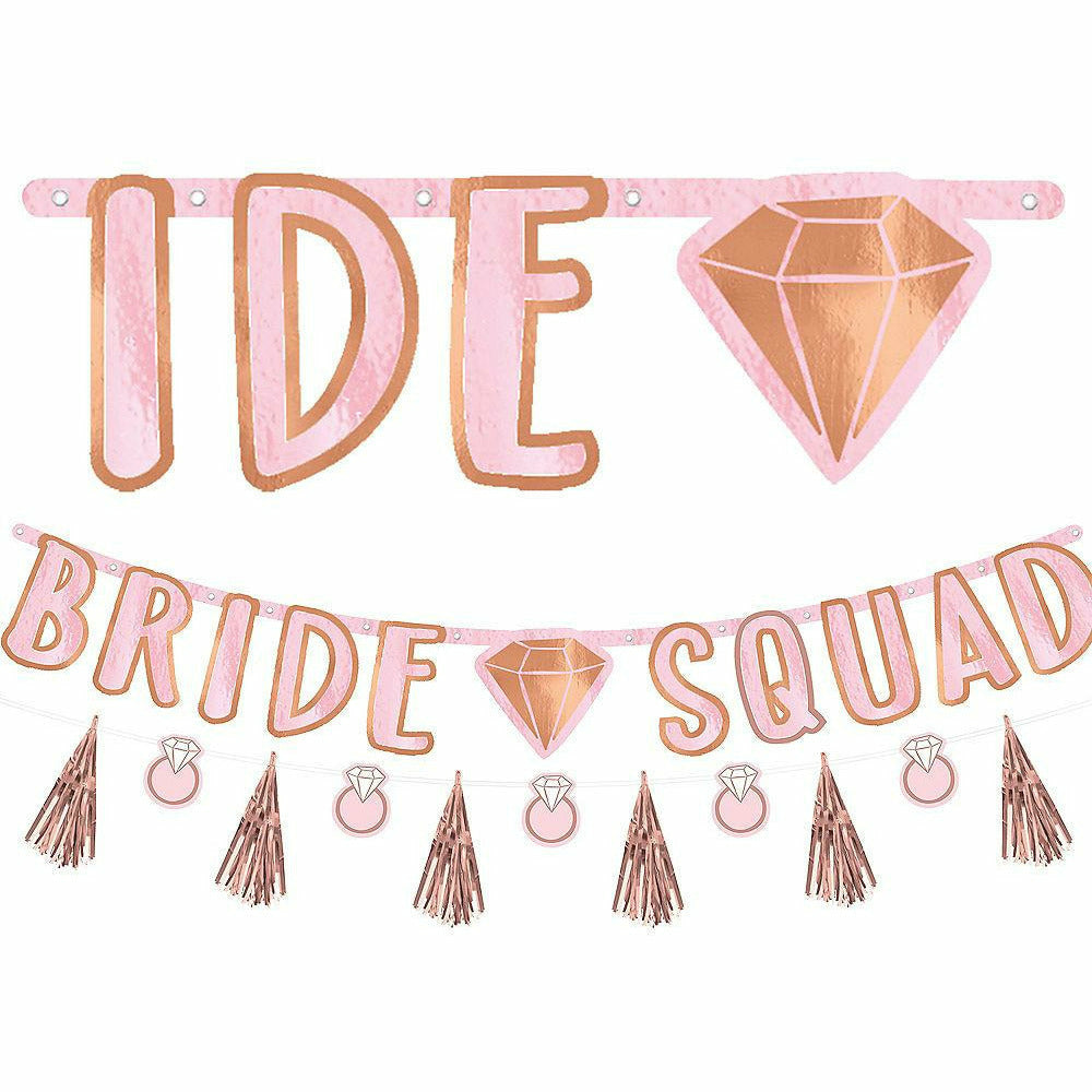 Blush & Rose Gold Bride Squad Letter Banner with Mini Banner