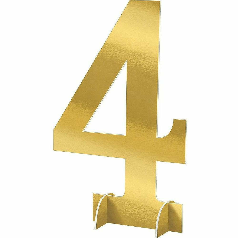 Giant Metallic Gold Number 4 Sign