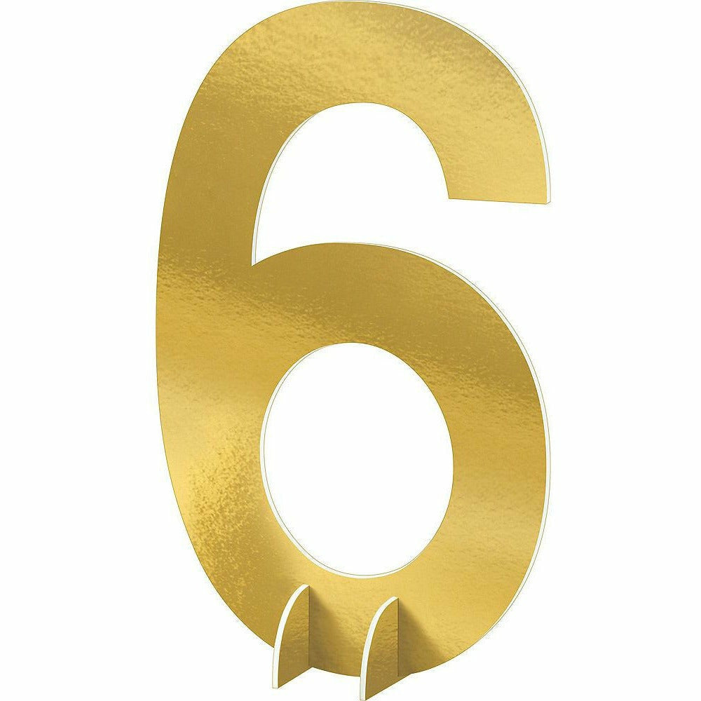 Giant Metallic Gold Number 6 Sign