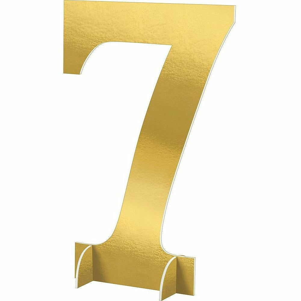 Giant Metallic Gold Number 7 Sign