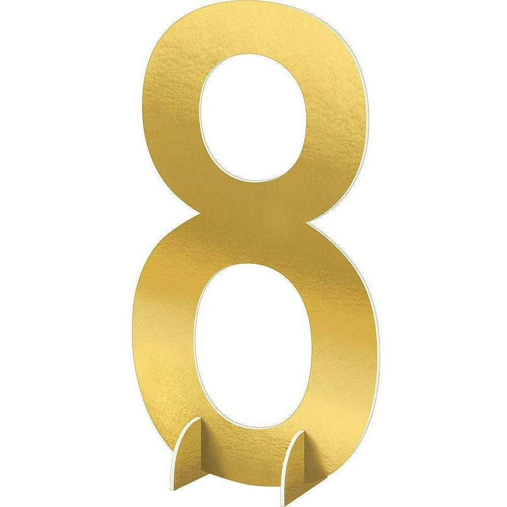 Giant Metallic Gold Number 8 Sign