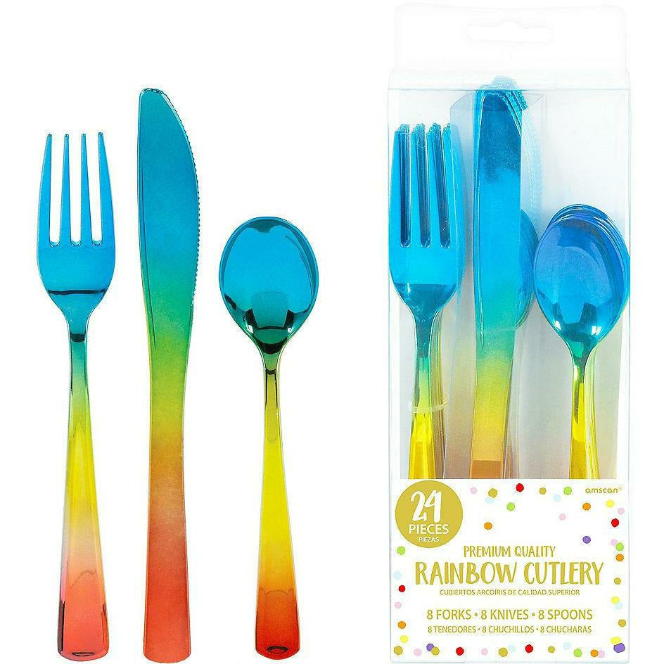 Metallic Rainbow Premium Plastic Cutlery Set 24ct