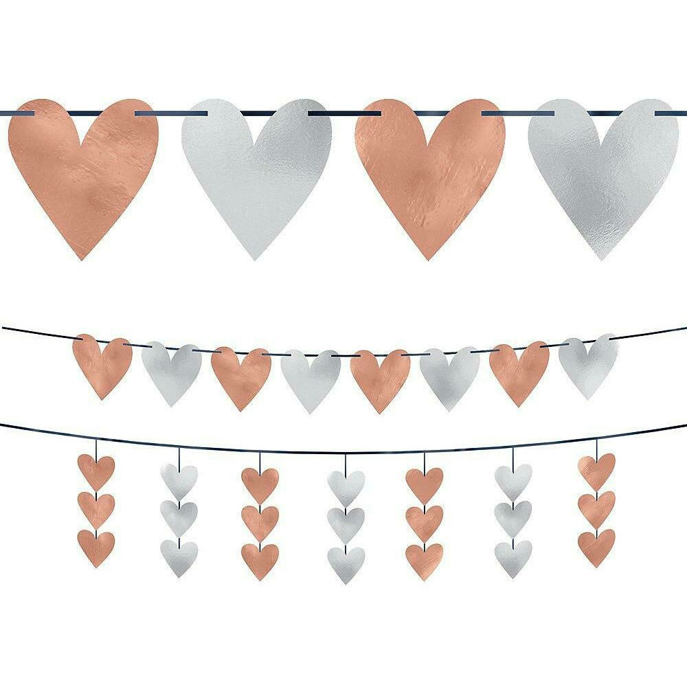 Rose Gold Heart Cutout Banners 2pc