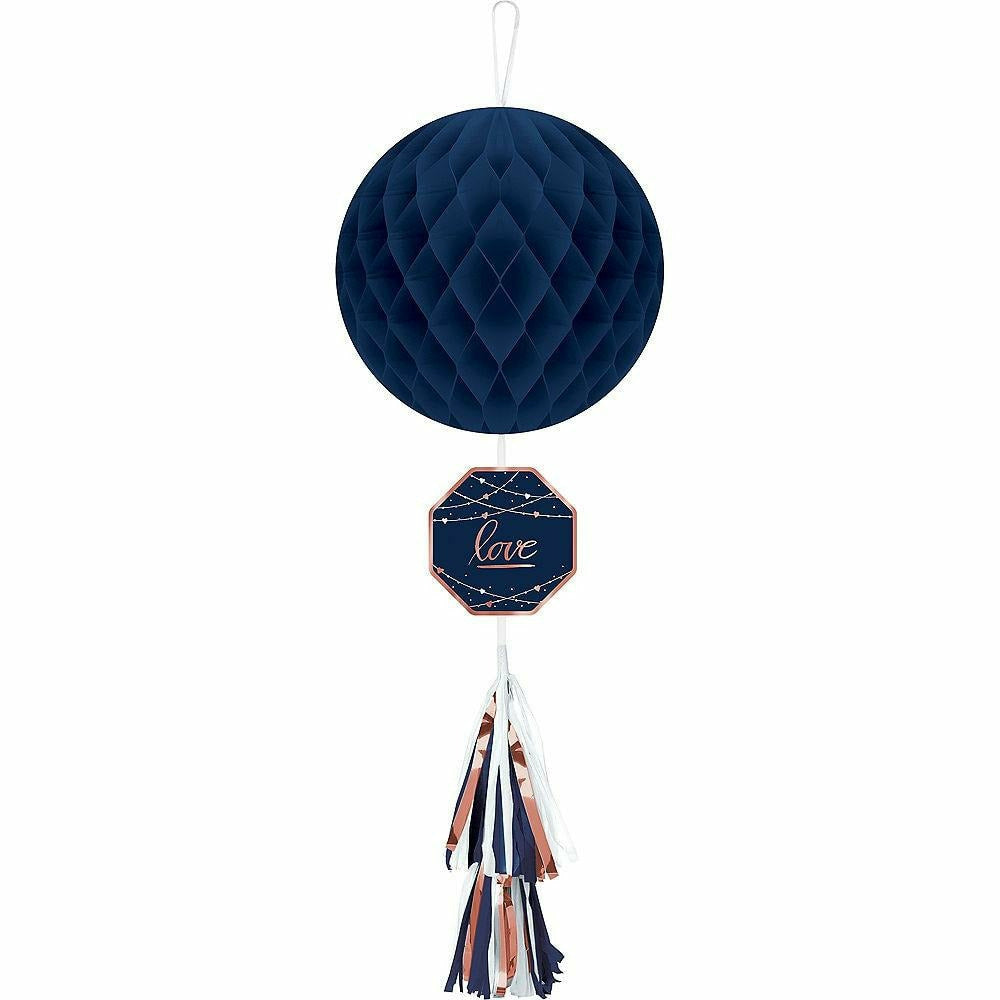 Navy Love Honeycomb Decoration with Tail