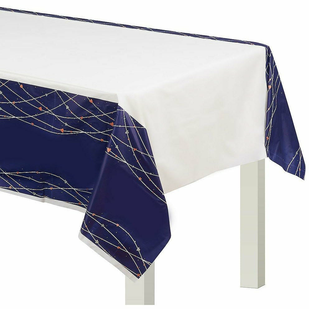 Navy Love Plastic Table Cover