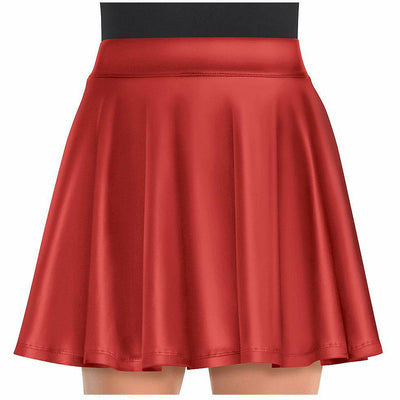 Womens Red Flare Skirt