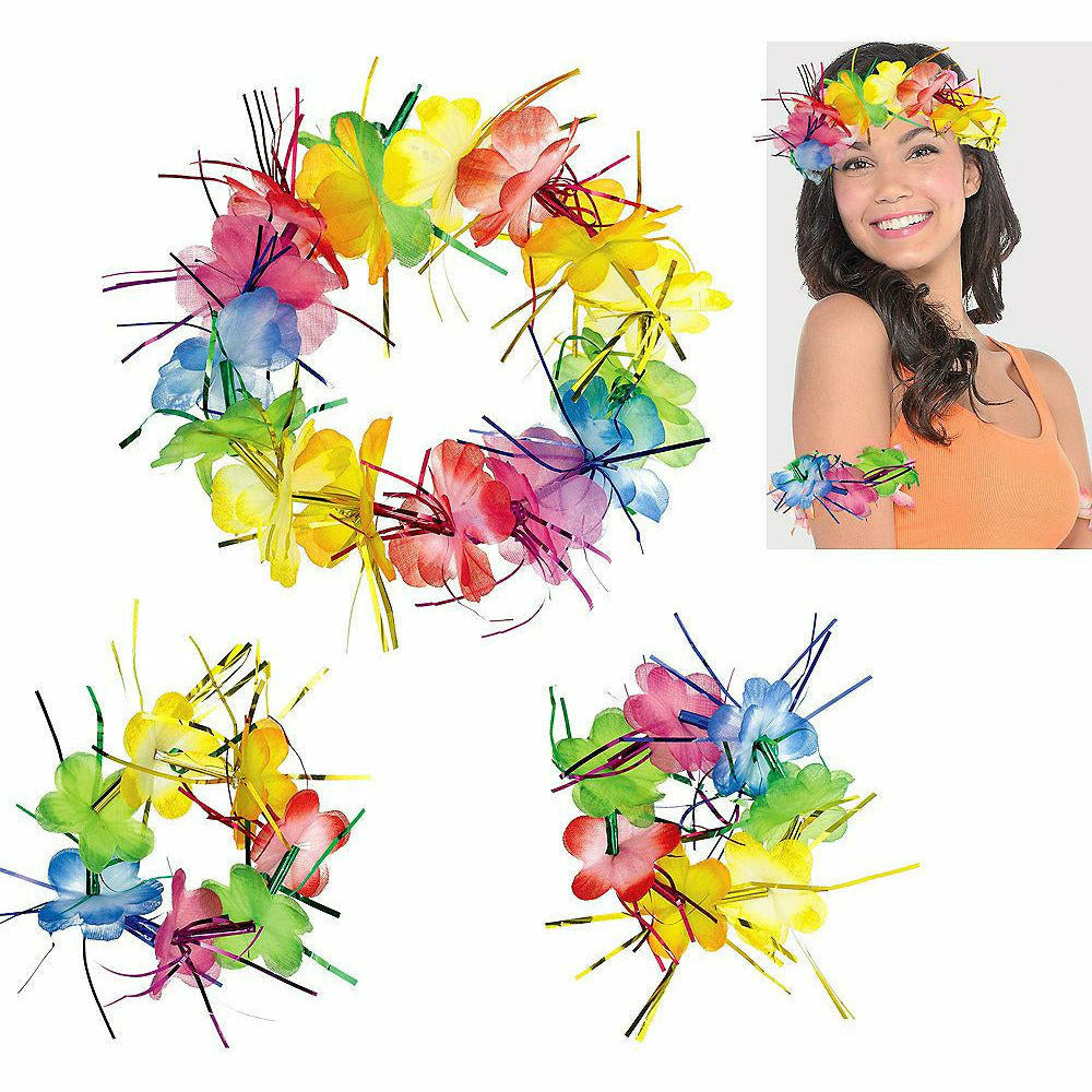 I8 Rainbow Tinsel Head & Wrist Lei Set 3pc