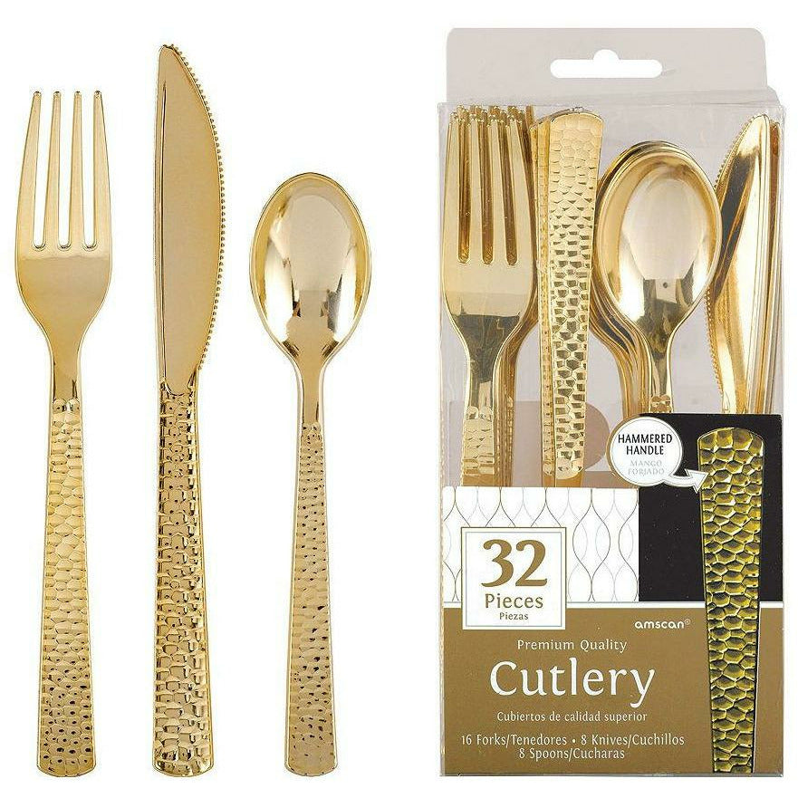 Gold Premium Plastic Hammered Cutlery Set 32ct