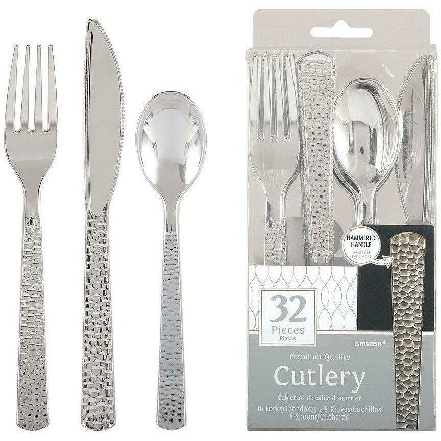 Silver Premium Plastic Hammered Cutlery Set 32ct