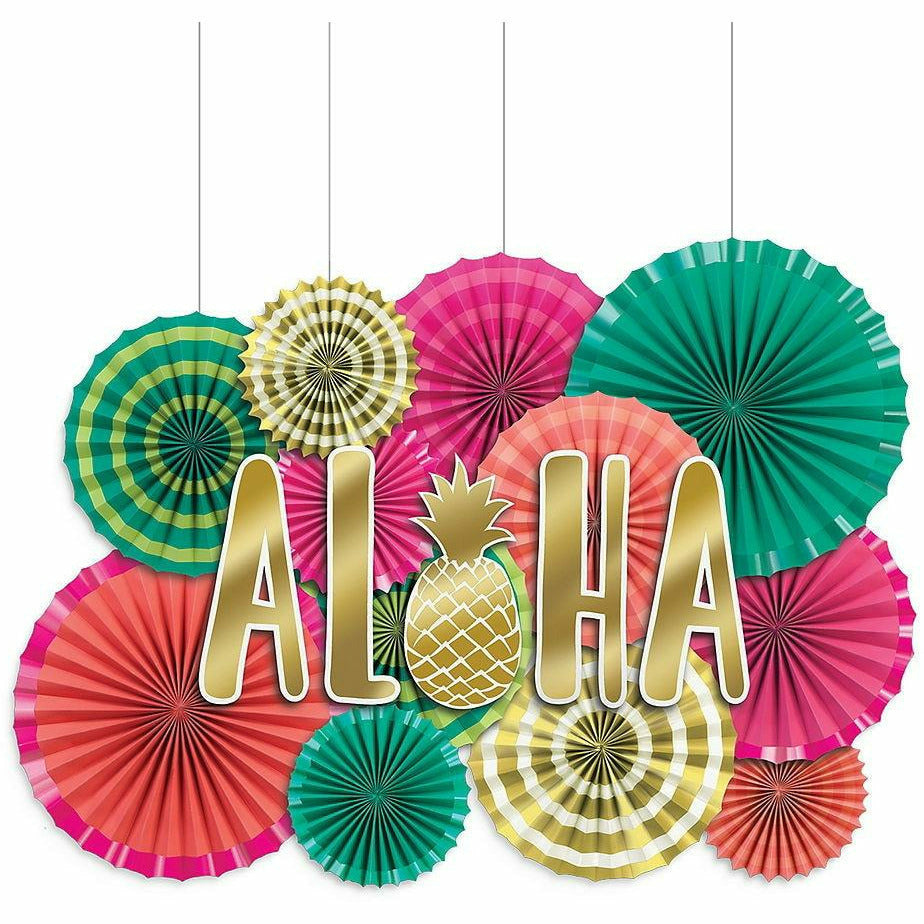 Aloha Paper Fan Decoration Kit 17pc