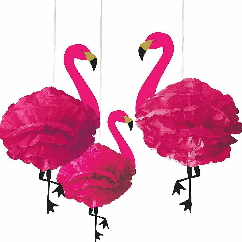 Flamingo Tissue Pom Poms 3ct