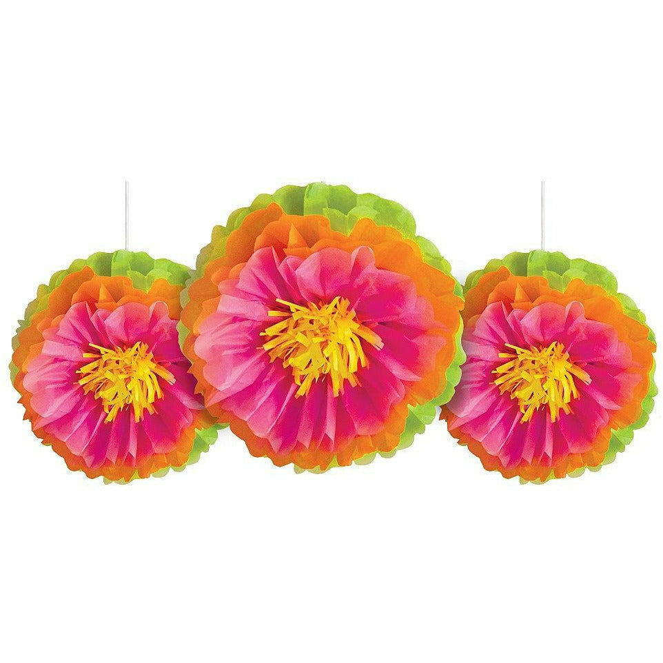 Tropical Flower Tissue Pom Poms 3ct