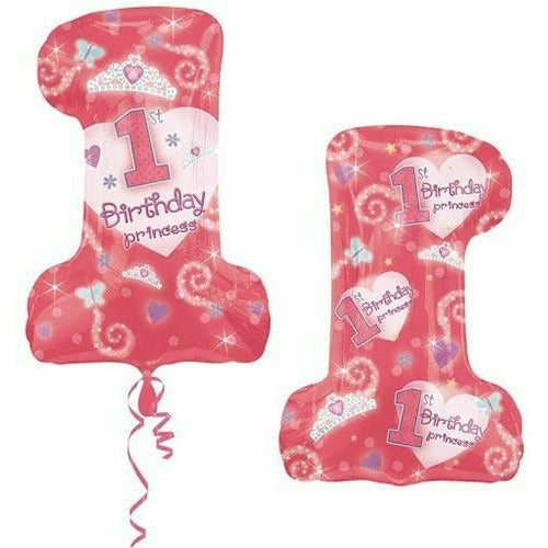 "F009 Pink 1st Birthday Princess Jumbo 28"" Mylar Balloon"