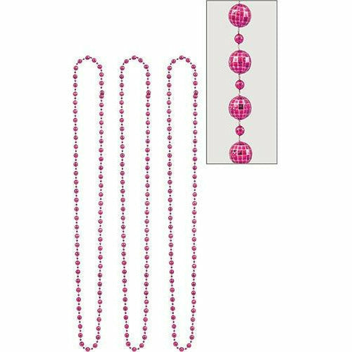 Pink Disco Bead Necklaces 3ct