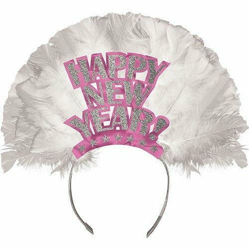 Pink Happy New Year Feather Tiara