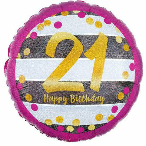 "397 Gold 21 Happy Birthday 18"" Mylar Balloon"