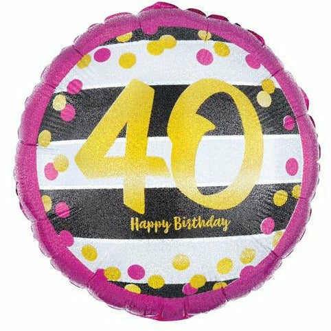 "402 Gold 40 Happy Birthday 18"" Mylar Balloon"