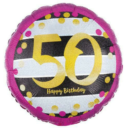 "463 Gold 50 Happy Birthday 18"" Mylar Balloon"