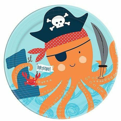 Pirate Shark 1st Birthday Dessert Plates 18ct