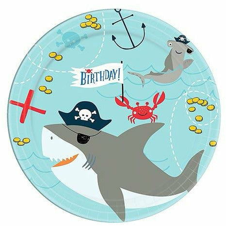 Pirate Shark Dessert Plates 18ct