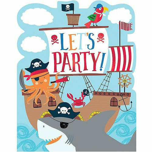 Pirate Shark Invitations 8ct