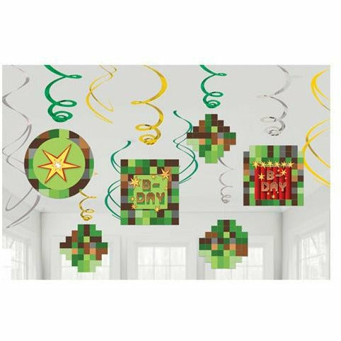 Pixelated Swirl Decorations 12ct