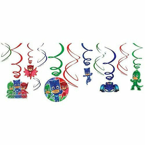 PJ Masks Swirl Decorations 12ct