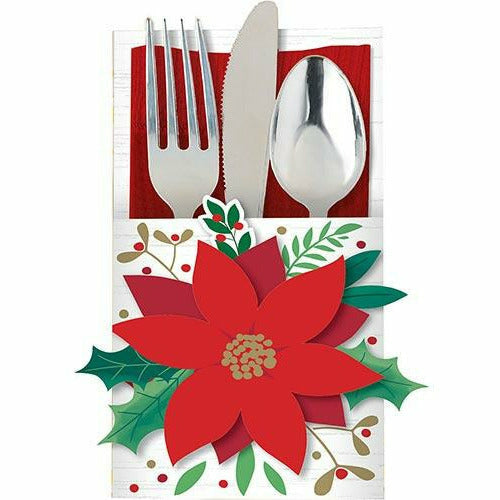Poinsettia Cutlery Holders 12ct