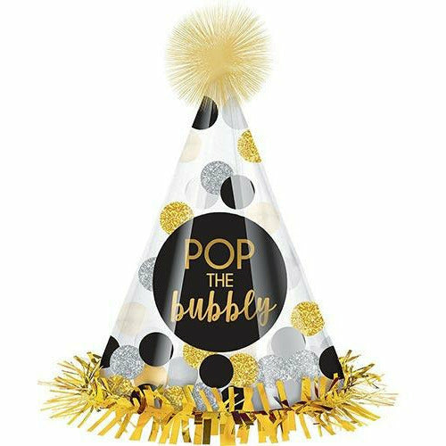 Clear Pop the Bubbly Party Hat