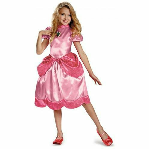 Girls Princess Peach Classic Costume - Super Mario