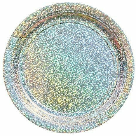 Prismatic Silver Lunch Plates 8ct