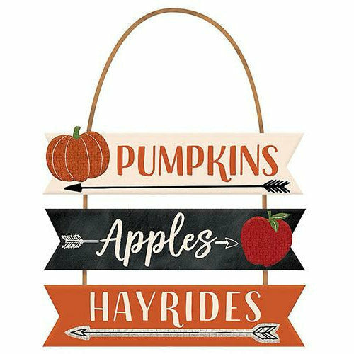 Pumpkins, Apples & Hayrides Stacked Sign