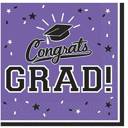 Purple Congrats Grad Lunch Napkins 36ct