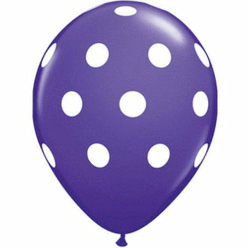 "White Polka Dots Purple Violet 11"" Latex Balloon"
