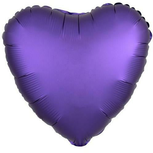 "031 Purple Royale HX Luxe Heart 19"" Mylar Balloon"