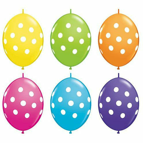 "White Polka Dots Mixed Assortment Tropical 12"" Latex Balloon"