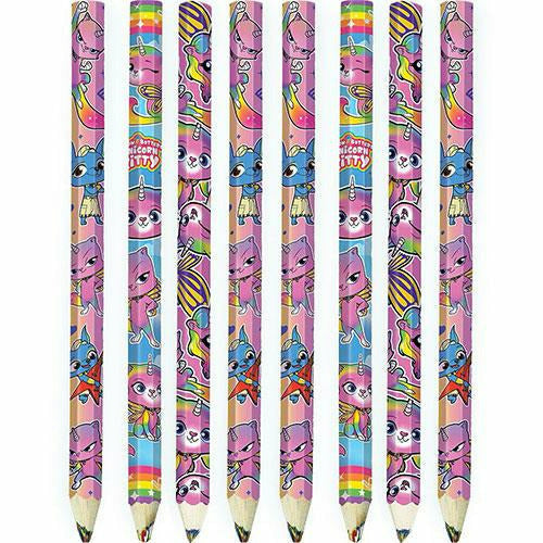 Rainbow Butterfly Unicorn Kitty Multicolor Pencils 6ct