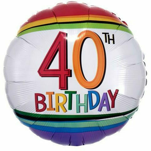 "B004 Rainbow 40th Birthday 17"" Mylar Balloon"