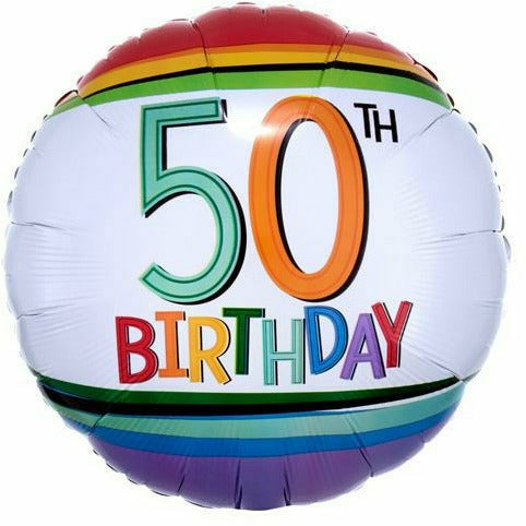 "B010 Rainbow 50th Birthday 17"" Mylar Balloon"