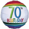 "407 Rainbow 70th Birthday 17"" Mylar Balloon"