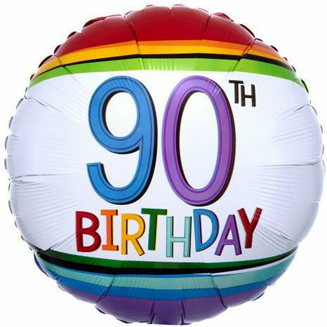 "409 Rainbow 90th Birthday 17"" Mylar Balloon"