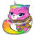 "*A013 Rainbow Butterfly Unicorn Kitty Jumbo 25"" Mylar Balloon"