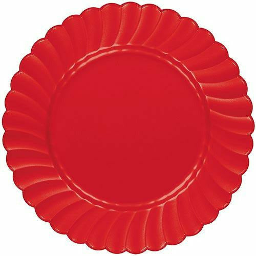 Red Premium Plastic Scalloped Dinner Plates 12ct