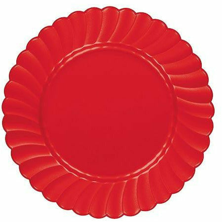 Red Premium Plastic Scalloped Lunch Plates 12ct